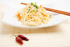 Thai food. With dried chili peppers and chopsticks Stock Photos