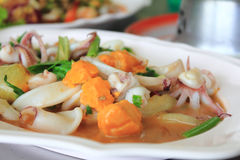 Thai food. A delicious Thai food called Fried squid with salted egg Royalty Free Stock Image