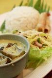 Thai Food. Thai cuisine rice with sliced mango and coconut sauce Stock Photos