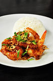 Thai food. Deep fried prawns in Tamarind sauce with steam rice Stock Image