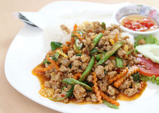 Thai food. Fried spicy basil chicken and rice royalty free stock photo
