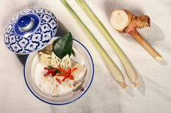 Thai food. Thai style soup with herb and coconut milk Stock Images