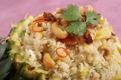 Thai food. Fried rice in pineapple and cashew nut Royalty Free Stock Photography