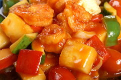 Thai food. Sweet and sour fried with pineapple and chilly Royalty Free Stock Photo