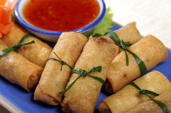 Thai food. Spring rool fried set with sweet shilly paste Royalty Free Stock Photos