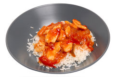Thai food. Chicken in thai souce with rice Stock Photos