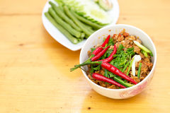 Thai Food appetizer ,Nam Prik Aong ,Thai Northern Style Pork and Royalty Free Stock Images