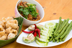 Thai Food appetizer ,Nam Prik Aong ,Thai Northern Style Pork and Stock Photography