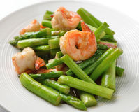 Thai food , Asparagus stir fried with prawns Stock Photos