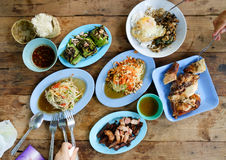 Thai food. Authentic Thai dishes on wooden table as background. Top view Stock Photos