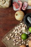 Thai Food background. Dry and fresh raw material on wood. Lots of copy space Royalty Free Stock Photos