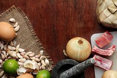 Thai Food background. Dry and fresh raw material on wood. Lots of copy space Royalty Free Stock Images