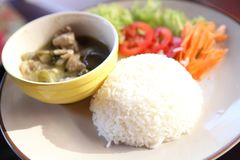 Thai food beef curry with rice. In close up royalty free stock images