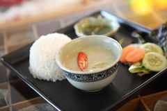 Thai food beef curry with rice. On a plate stock image