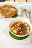 Thai food, Beef massaman curry with roti Royalty Free Stock Photos
