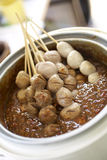 Thai food from beef. The meatball in chilli sauce Stock Image