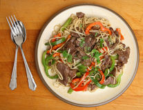Thai Food, Beef Noodle Stir Fry Meal Stock Images