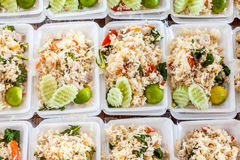 Thai food in box. Some pick isomobox with Thai rice with chicken, ready to be packed royalty free stock image