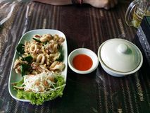 Thai food calamari. Calamari in thailand, with red sauce Royalty Free Stock Images