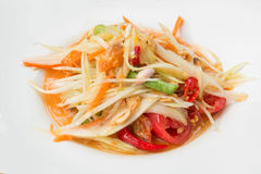 Thai food call Papaya salad or Som tum in white dish Royalty Free Stock Image