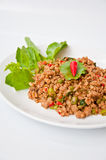 Thai food call PUD KAPRAO MOO Stock Photography