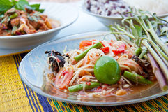 Thai food call SOM TAM. Thai food made from papaya and spicy ingredient and famous in the world stock photo