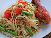 Thai food. Call SOMTAM and grill chicken stock photo