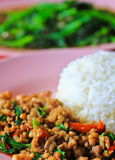 Thai food called Kra Prao Moo Sub Stock Photography