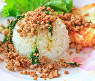 Thai food called Kra Prao Moo Sub Stock Photos
