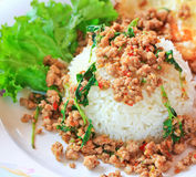 Thai food called Kra Prao Moo Sub Royalty Free Stock Image