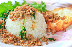 Thai food called Kra Prao Moo Sub Royalty Free Stock Images