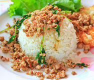Thai food called Kra Prao Moo Sub Royalty Free Stock Photos