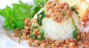 Thai food called Kra Prao Moo Sub Stock Image