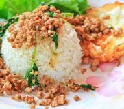 Thai food called Kra Prao Moo Sub Stock Images