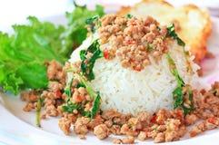 Thai food called Kra Prao Moo Sub Stock Photography