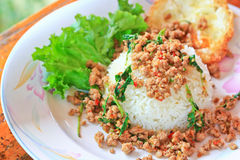 Thai food called Kra Prao Moo Sub Royalty Free Stock Photo