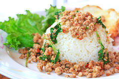 Thai food called Kra Prao Moo Sub Stock Photo