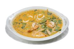 Thai food called Tom yum goong seafood recipe or Thai Seafood Spicy Soup royalty free stock photos