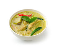 Thai food chicken green curry in the white bolw Royalty Free Stock Photo