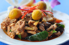 Thai Food : Chicken with red chili Stock Photos