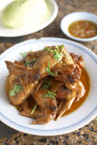 Thai food from chicken. A chicken roast with sweet sauce Royalty Free Stock Photo