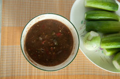 Thai food chili sauce and vegetable Royalty Free Stock Photo