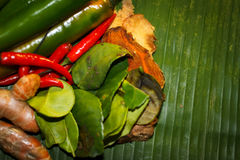 Thai food Cooking ingredients. Top view Royalty Free Stock Images