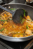 Thai Food Cooking Pad Thai Kung Sod Stock Photography