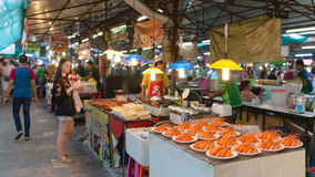 Thai food court on weekend night market in Phuket town. Royalty Free Stock Photo