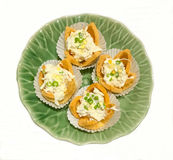 Thai Food Cuisine, Kratong Thong: Herbed Minced Chicken and Sweet Corn in Pastry, Golden Shell Cups or Baskets on white background Royalty Free Stock Photos