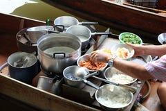 Thai food at damonen saduak floating market Royalty Free Stock Photo