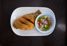 Thai food Deep fried little Tilapia fish call Pla Nil Tod. Top view Stock Photography