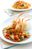 Thai food, Deep-fried prawns with black pepper sauce. Royalty Free Stock Image