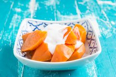 Thai food dessert : Sweet potato (cassava or tapiopca) in syrup Royalty Free Stock Photography